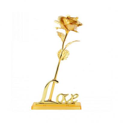 24K Arany Rózsa - Love állvánnyal