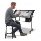 Tervező asztal dönthető,üveg asztallappal